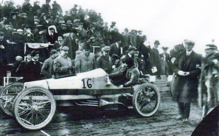 This is a vintage photo of the Packard-powered 'Gray Wolf' which set a speed record in 1903.