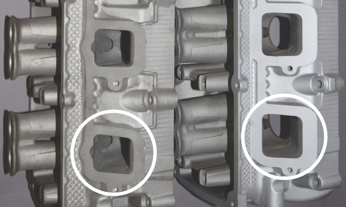 The new intake ports (right) are bigger and nearly square so they flow 14% more air than the original rectangular ones.