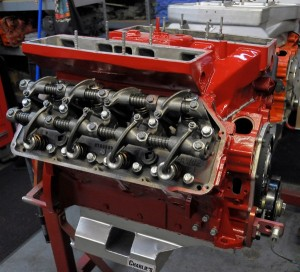 This Nostalgic Super Stock engine was built by DePillo in 2009. The dual-carbed engine was bored and stroked to 478cid and it pumps out 750 horses.
