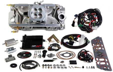 EFI systems such as this one from Holley come equipped with 4 programmable inputs and 4 programmable outputs and is billed as the replacement for a 950 carb. It fits most vehicles with up to a single power adder.