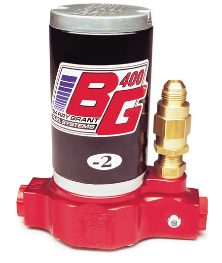 this electric pump is designed for gas race engines producing 650-1,650 horsepower. the pump is rated at 400 gph and has an externally adjustable bypass (16 to 25 psi).