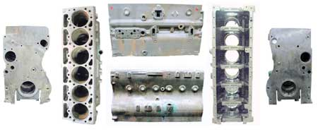 figure 1 - although the 466 legend block went through some changes internally, the external configuration stayed the same. above are all six views of the cylinder block.