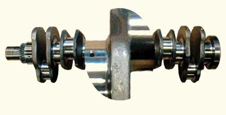 figure 3 - the 466 has a forged steel crankshaft that has been very durable and dependable. early on, the rod and main bearing width was increased and the crankshaft fillet/radius was decreased to .208?. finding a crankshaft that uses the narrow bearings is nearly impossible today since anytime a crankshaft as been remanufactured it would have been ground to the updated fillet/radius dimension. if a crankshaft ever needed to be replaced, the wider bearings and updated crankshaft were the service replacement.