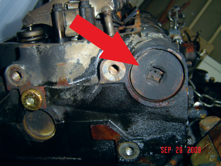 the oil barrel found in the cylinder head is used to help boost the oil pressure to activate the injectors.
