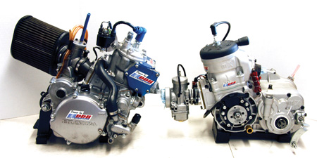 here are the two major types of shifter motors in competition today. on the left is a honda cr125   <div  class=