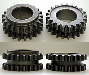 figure 1 the differences between the timing gears for ford 4.6l and 5.4l engines are shown. at left, the tall gears used with the stamped steel trigger ring. at right, the short gears are used with the pm wheel.