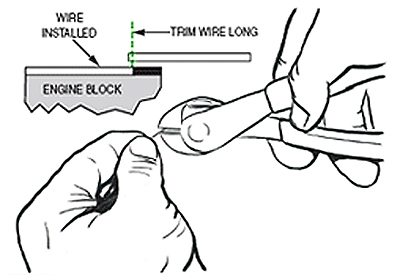 figure 3. after working your way around the bore, stop a few inches short and trim the wire slightly ling in preparation for final fit.