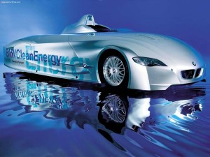 The BMW H2R (Hydrogen Racecar) is one of the first of a new breed of racecars adapted to run on liquid hydrogen fuel.