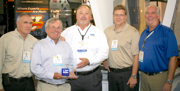 CRP Automotive's Warren Morley presents Bob Brannon with the 2016 Rep Agent of the Year Award. (left to right) Bob Knight, Partner, PSKB; Bob Brannon, Partner, PSKB; Warren Morley, CRP Automotive National Sales Manager – East; Darren Mohar, Vice President of Sales – Autozone Account, PSKB; and Mark Adin, Partner, PSKB.