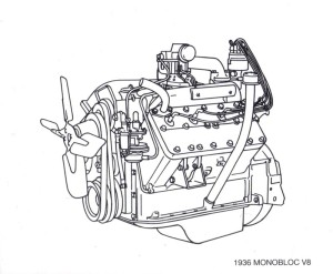 Cadillac 1936 Monobloc V8: In its first year, the Cadillac Monobloc V8 was offered in two displacements, with the larger one being the exclusive Cadillac V8 thru 1949.