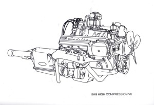 Cadillac 1949 High Compression V8: America's first modern overhead valve V8 was the 331-cid high-compression Cadillac engine introduced in 1949.