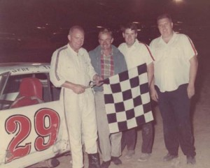 Back in the Summer of '69: (left to right) Gene Petro, Morgan Chandler, Chip Butler, Cecil Snell. (Photo courtesy of www.dirtfans.com)