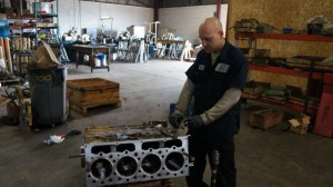 Engine builder Brad Millers prepping the engine block for assembly.