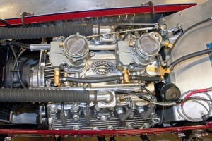 This V8-60 is garbed in Eddie Meyer aftermarket parts with both heads and intake, in addition to twin carbs.
