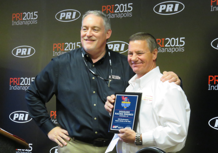 Engine Builder editor Doug Kaufman (left) with the 2015 Performance Engine Builder of the Year Ray Field.