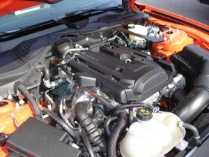 Mustang EcoBoost four-cylinder engine.
