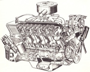 "A cutaway view of the Slant Six engine. Newman was responsible for the ""High Carb"" and ""Low Carb"" versions of this motor."