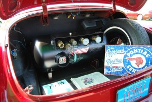 Located in the trunk of Chris Wynstra's numbers-matching Pontiac Eight is a propane system to fuel the old car. It is not known when the conversion was done or who did it.