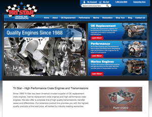 Tri Star Engines & Transmissions in Baldwin, WI offers a great example of a well done website that is easy to use, portrays what the company does and remains up-to-date.