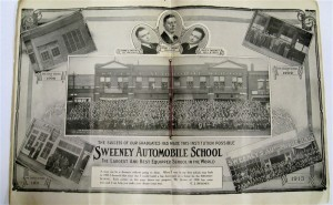 "In the center pages of the Sweeney Automotive and Tractor catalog it shows the progression of school locations that lead up to the ten-story ""Million Dollar School"""
