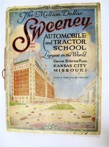 ABOVE: The front cover of the 1920 edition of the Sweeney Catalog. I was lucky enough to buy a copy of the 1920 Sweeney Automotive and Tractor School catalog many years ago. Not many collectables are in existence today from the Sweeney School, which is a little surprising in light of the number of students that attended the school.