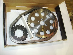 Most aftermarket timing chain set suppliers include offset crank sprockets that have multiple keyways.