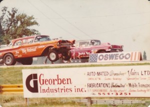"Animal Jim's Big Animal '57 Mercury in 1975, Oswego, IL. The Big Animal, which Jim still has, is powered by a FE 427 Ford Tunnel Port. Left lane is Frank Marshall in his Daddy's Thing '58 Chevy, 427 powered. From the book ""Lost Drag Strips/Ghosts Of Quarter-Miles Past."" Photo by Brent Fregin."