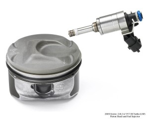 Gasoline Direct Injection determines the shape of the piston crown on the piston. The crown has been optimized for fuel economy and emissions.