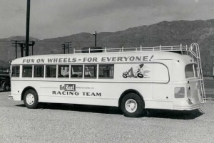 "The Go Kart Company used a renovated bus to haul its race team around parts of California during the ""kart craze"" days."
