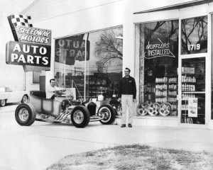 This is what Speedway Motors looked like in the 1960's. That is Speedy himself waiting on customers.