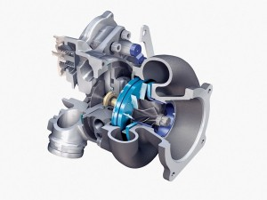 "A turbocharger utilizes a single-stage radial-flow or ""centrifugal"" compressor (air pump), as seen on the left of this cutaway from Borg-Warner."